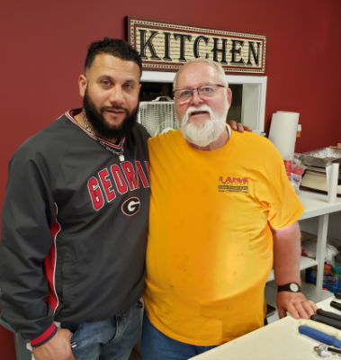 Jay at Q-School with BBQ Hall of Famer and Baron of BBQ, Chef Paul Kirk